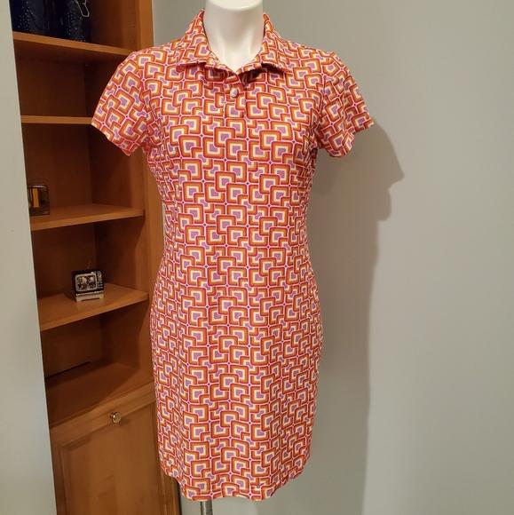 Jude Connally Red Oranges Geometrical Shift Dress